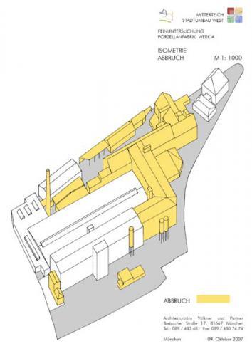 Bestand Porzellanfabrik bis 2007 - Isometrie Abbruch